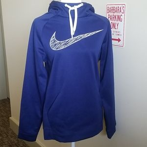 NIKE DRI FIT BLUE HOODED SWEATSHIRT- SMALL